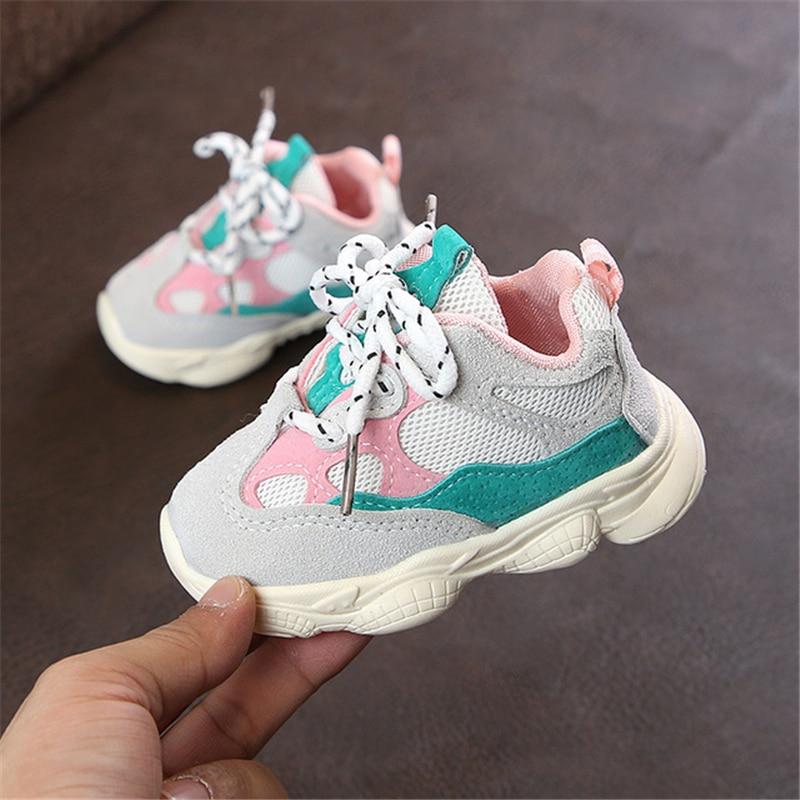 Otoño bebé niña Niño Zapatos Niño Infante Casual zapatos de correr Fondo suave cómodo color de costura niños zapatillas 5