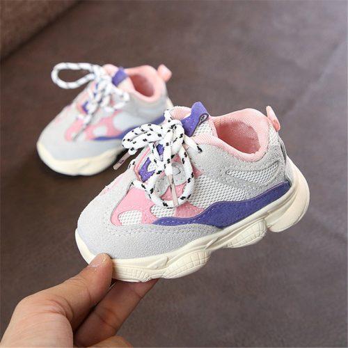 Otoño bebé niña Niño Zapatos Niño Infante Casual zapatos de correr Fondo suave cómodo color de costura niños zapatillas 3