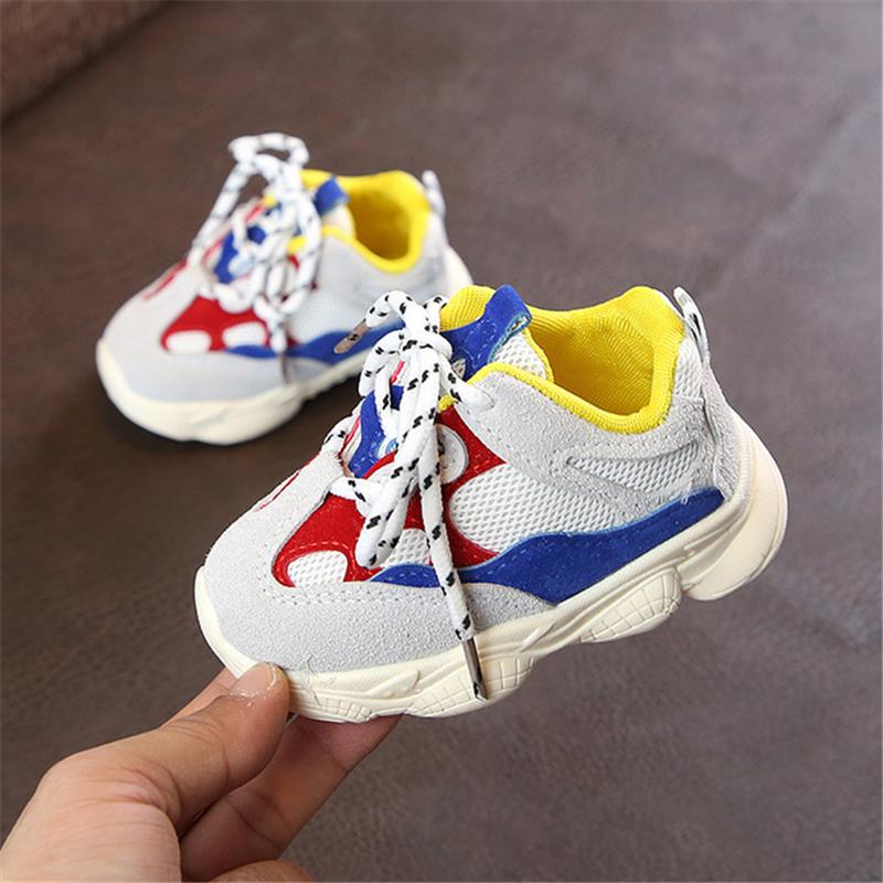 Otoño bebé niña Niño Zapatos Niño Infante Casual zapatos de correr Fondo suave cómodo color de costura niños zapatillas 4