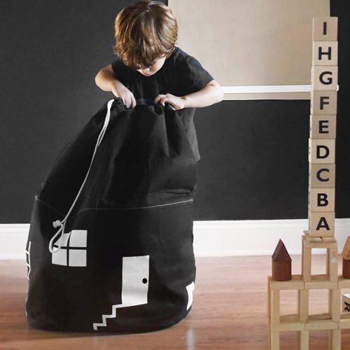 Bolsa de tela para guardar juguetes con forma de casa 3