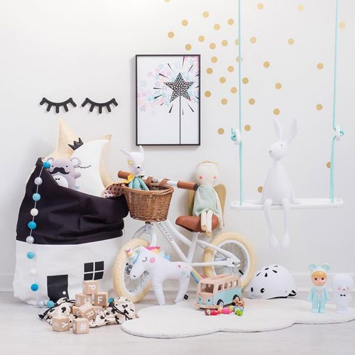 Bolsa de tela para guardar juguetes con forma de casa 2